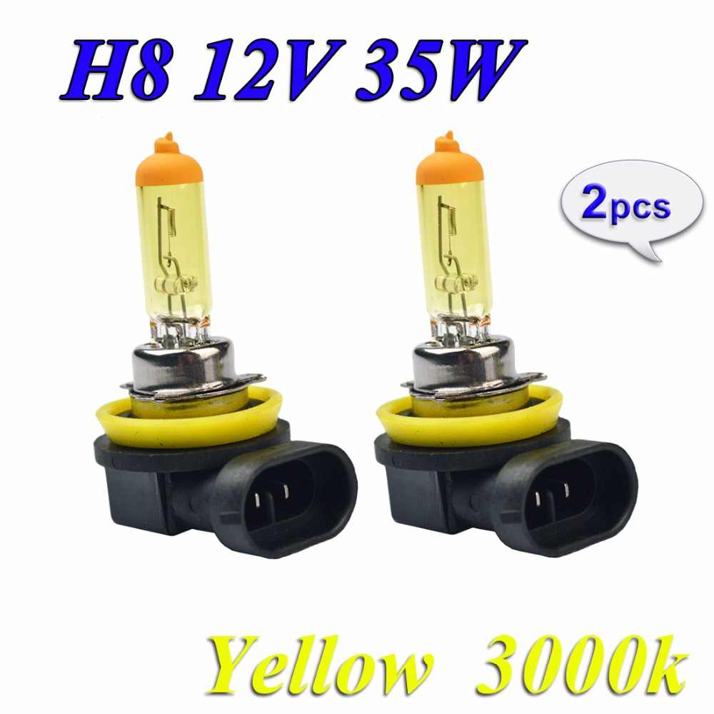 Hippcron 2 PCS 12V 35W H8 Halogen Bulb Yellow 3000K PGJ19-1 Quartz Glass Car HeadLight Auto Halogen Lamp FREE SHIPPING