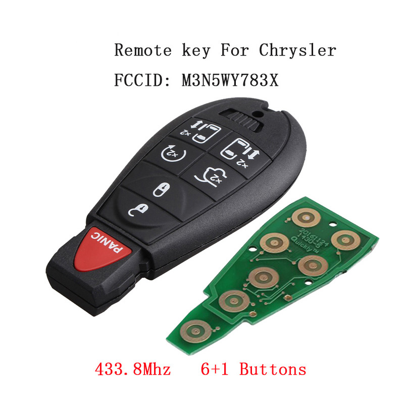 6Button 433.8Mhz Remote Car Key Fob For Chrysler Dodge 2008-2015 with Panic Buttons Transmitter M3N5WY783X Keyless Key