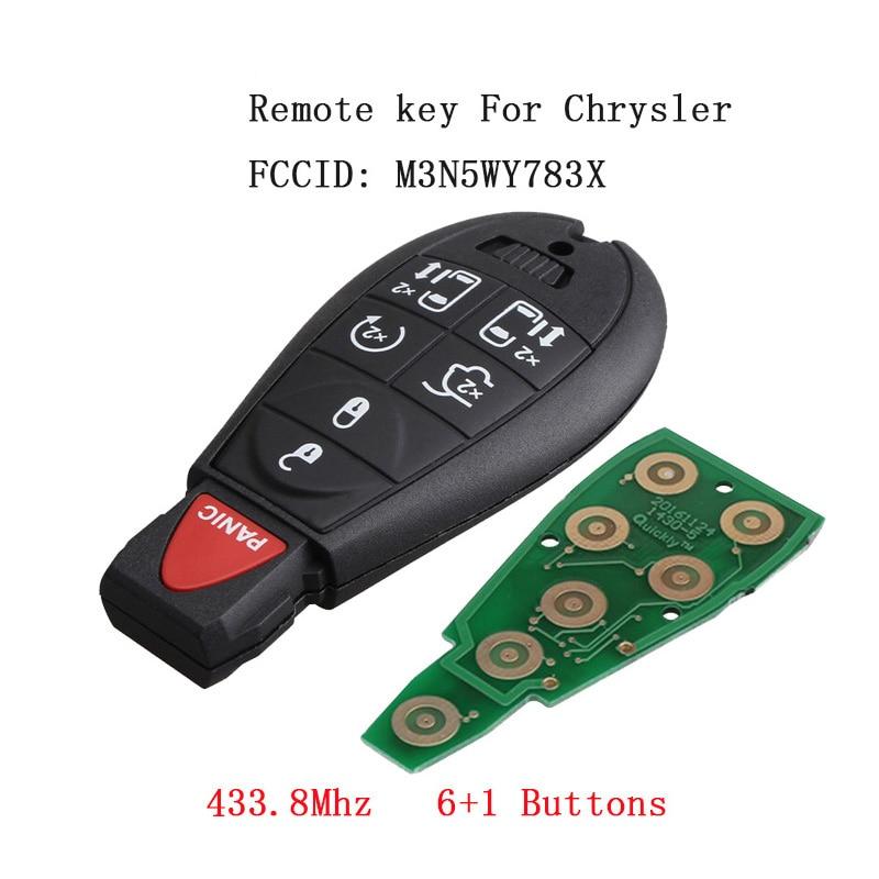 Llave de coche remota de 6 botones de 433,8 Mhz para Chrysler Dodge 2008-2015 con transmisor de botones de pánico M3N5WY783X sin llave clave