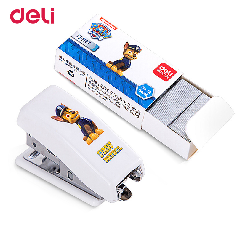 Deli Paw Patrol Mini Stapler Stapler Set Stationery Cartoon Cute Student Safety Binding Machine For Office School Gift Wholesale