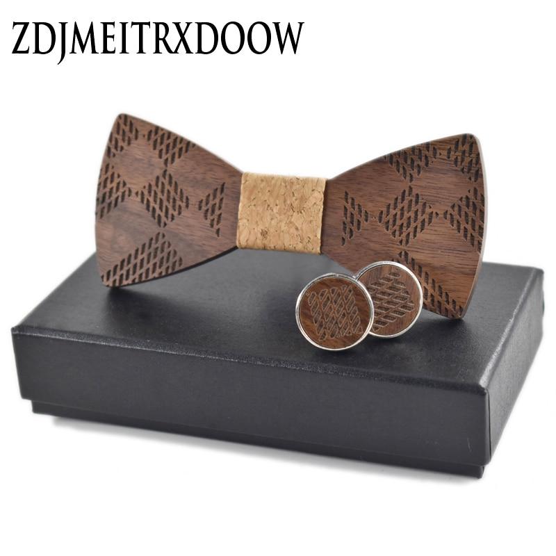 R.XIN 2017 High Quality Geometric ukiran kayu bow tie houten strik - Aksesori pakaian - Foto 3