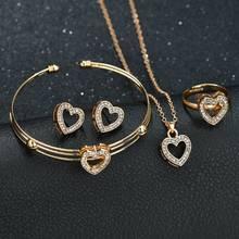 9c95cfd44 Terreau Kathy 4 pcs Cute Heart Shaped Neclace Earrings Sets Jewelry Crystal  Kid Children Lovely Gold