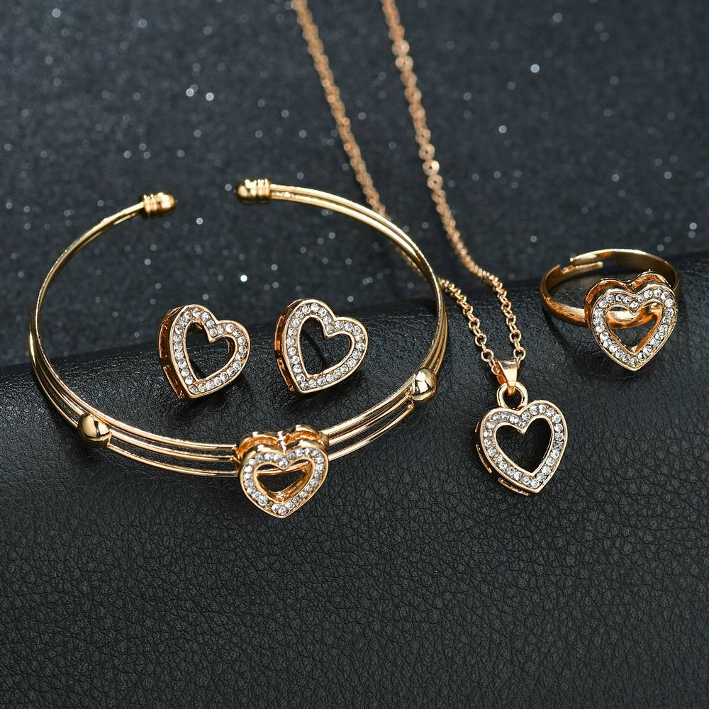 Terreau Kathy 4 pcs Cute Heart Shaped Neclace Earrings Sets Jewelry Crystal Kid Children Lovely Gold Color Jewelry Sets for Girl