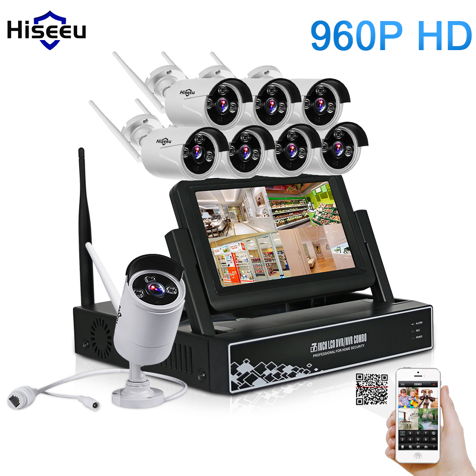 7 Inch Displayer 8CH 960P Wireless CCTV System Wireless NVR IP Camera IR-CUT Bullet Home Security System CCTV Kit Hiseeu 8ch cctv system wireless nvr kits 960p wifi bullet ip camera ir cut home security system video surveillance kit