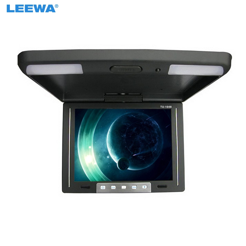LEEWA 10.4Inch Roof Mounted TFT LCD Monitor 2-Way Video Input Flip Down Car Monitor 3-Color Black, Grey, Beige For Choice #1283 9 inch flip down tft lcd monitor 12v car monitor beige car roof mounted monitor car ceiling monitor with 2 video input
