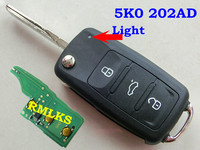 RMLKS 3 Przyciski Zdalnego Key Fit Dla VW 202AD Golf Passat Tiguan Polo Jetta 433 mhz ID48 Chip Uncut 5K0837202AD HU66 ostrze