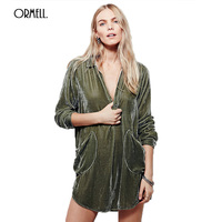 ORMELL Fashion Loose Sexy Girls Velvet Mini Dress Women Autumn 2017 Vintage Long Sleeve Cotton Casual