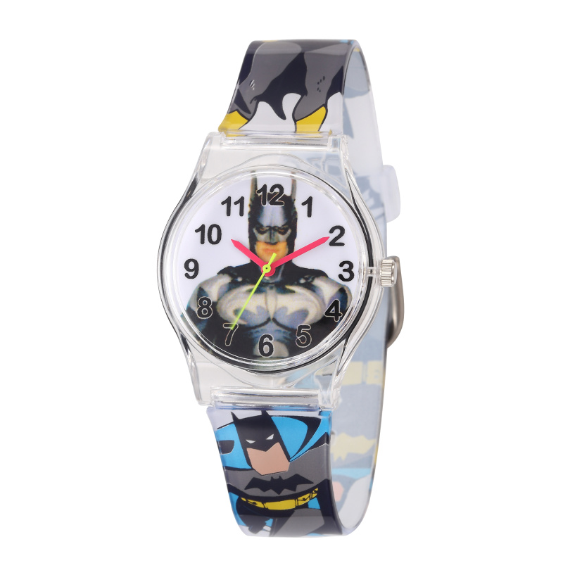 Watch For Boys 2018 New Fashion Kids Clock Rubber Strap Quartz Clock Spiderman Batman Anime Student Saats Hot Relogio Infantil