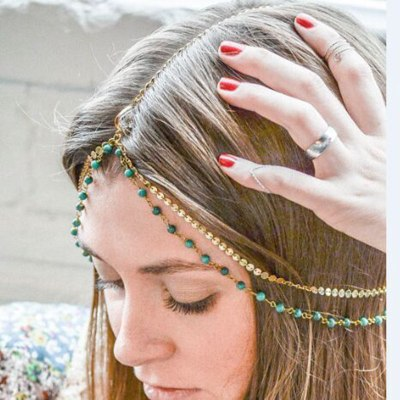 Vintage handmade beaded sequins with multi-layered hair tie chains