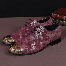 2016 Fashion Echtes Leder Schuhe Männer Oxfords Casual Männer Spitzen-up Business-schuhe Red Partei Kleid Schuhe Herren Wohnungen große Größe