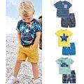 2017 nova Marca de Qualidade 100% Algodão Do Bebê Meninos Conjuntos de Roupas Crianças de verão Terno Crianças Conjuntos de Roupas de Bebê Meninos de Manga Curta Outwear