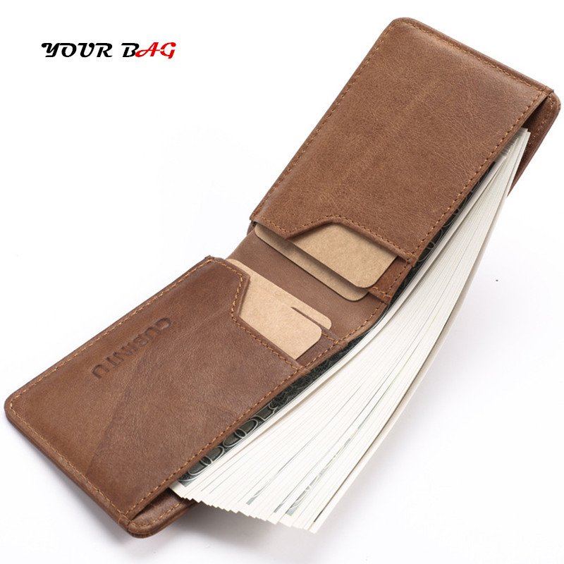 UBAG Men Genuine Leather Wallet Card Holder Short Male Fashion Purse Small Wallets Mini Vintage Soft Thin Money Coin Credit Bag williampolo genuine leather men design slim thin mini wallet male small purse credit card short coin ultrathin wallet pl250