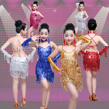 Girl Kids Tassels Sequins Latin Dancing Dress Children Salsa Ramba Tango Costumes Girls Sta