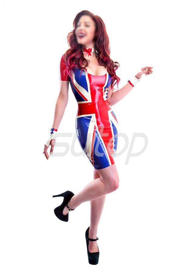 dámské latexové gumové šaty vysoké úrovně quanlity ve stylu anglické vlajky