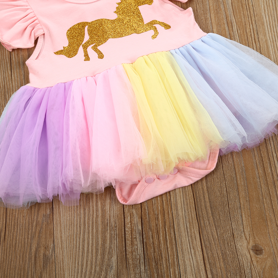 25313611360c0 US $4.66 14% OFF 2018 Hot Gold Unicorn Colorful Mesh Newborn Baby Girls  Tutu Lace Mini Dress Romper Outfits-in Dresses from Mother & Kids on ...