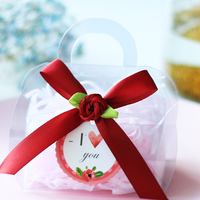 Creative Mini Drum Candy Box PVC Transparent Wedding gift box with handles baby baptism favors DIY packaging box Party Supplies