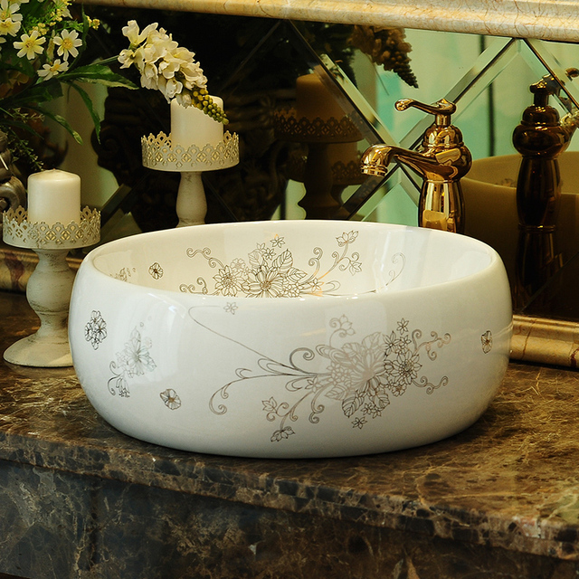 Europe Vintage Style Ceramic Art Basin Sinks Counter Top Wash Basin  Bathroom Vessel Sinks Vanities Ceramic