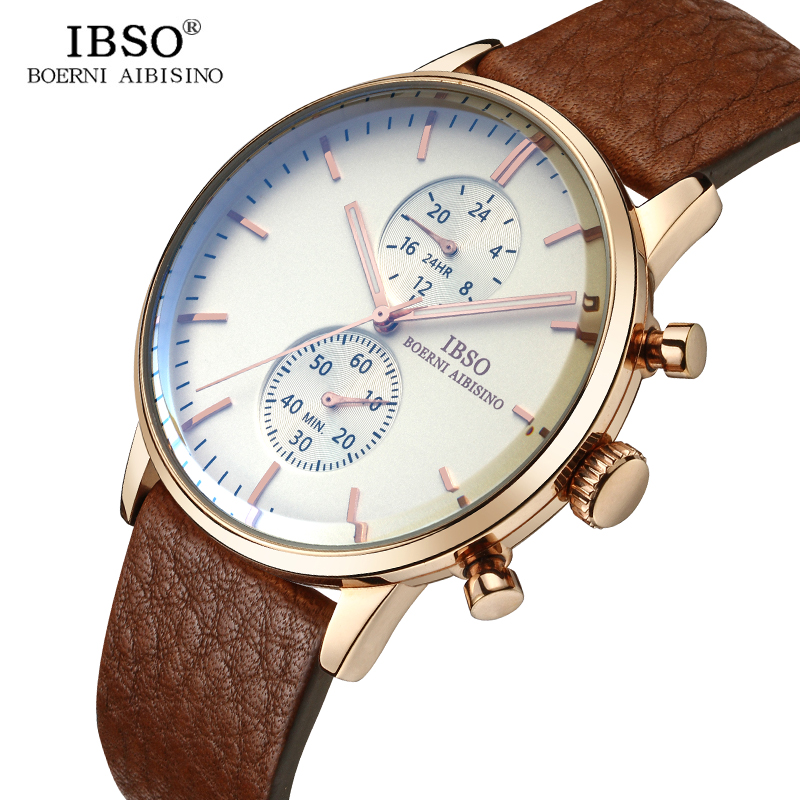 IBSO Business Mens Fashion Watches Top Brand Luxury Quartz Watch Men Genuine Leather Wrist Watch 2018 Relogio Masculino #8256 цена