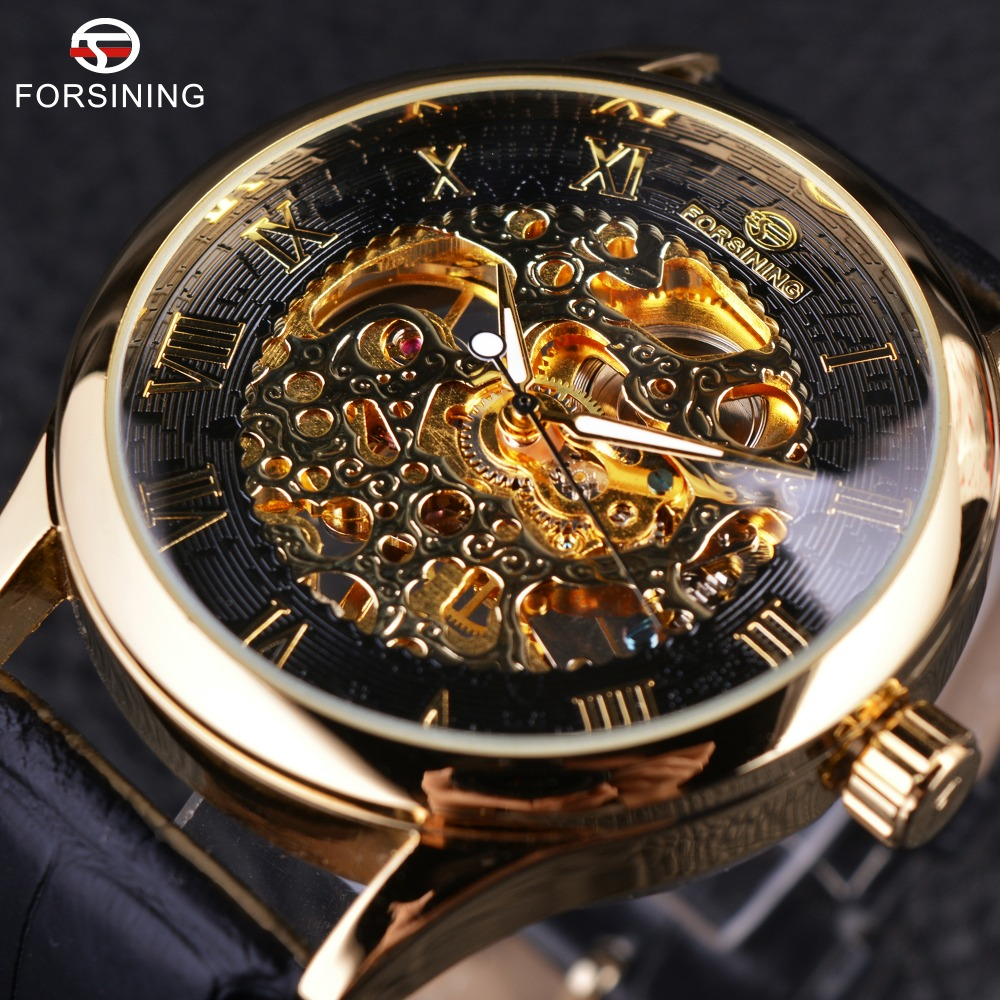 Forsining Retro Classic Design Roman Number Display Transparent Case Mechanical Skeleton Watch Men Watch Top Brand Luxury Clcok