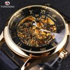 Forsining Retro Classic Design Roman Number Display Transparent Case Mechanical Skeleton Watch Men Watch Top Brand