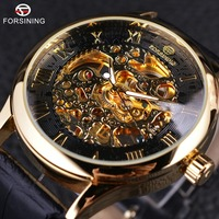 Forsining Retro Classic Design Roman Number Display Transparent Case Mechanical Skeleton Watch Men Watch Top Brand