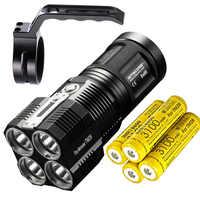 High Lumen NITECORE TM28 LED Flashlight 4 *CREE XHP35 HI 6000LM beam distance 655M + 4* 18650 3100mAh batteries + NHM10 Holder