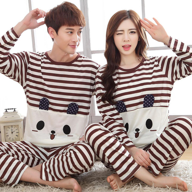 8d4cf4e697 Spring Autumn Lovers pajamas Lovely Cartoon pyjamas for Man and woman  trousers cotton couple Home wear