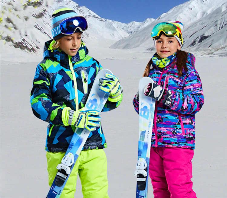 2018 Новая бесплатная доставка мальчиков/девочек лыжный костюм Водонепроницаемый ветрозащитный зимний штаны + куртка комплект Зимние виды спорта для детей утолщенный одежда