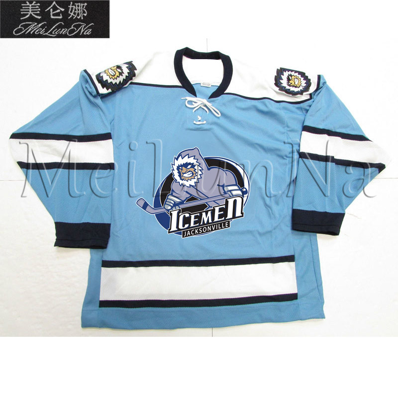 MeiLunNa Custom ECHL Jacksonville IceMen Hockey Jerseys 11 Cameron Critchlow 19 Cody Fowlie Home Road Sewn On Any Name NO. Size