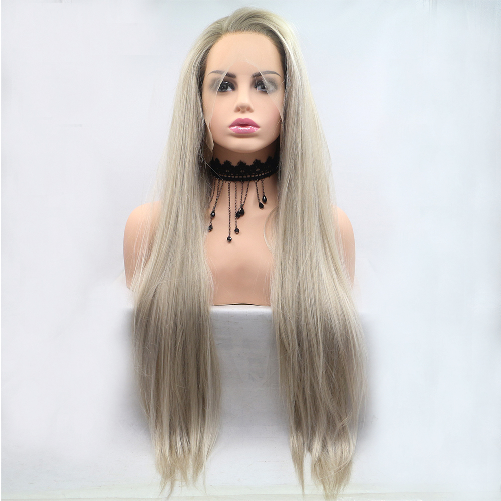 Fantasy Beauty Glueless Blonde Ombre Lace Front Wigs Synthetic Realistic Looking Side Part Long Straight Dark