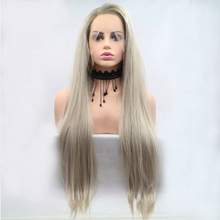 Фэнтези Бьюти Бесклеевой Блондинка Ломбер Парики с Кружевными Фронтами Синтетический Реалистичный