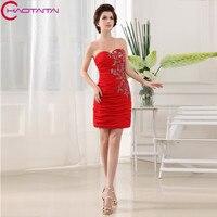 2017 New Design Nice Fashion Brides Maid Dresses Short Red Chiffon Cheap Dresses High Quality Bridesmaid