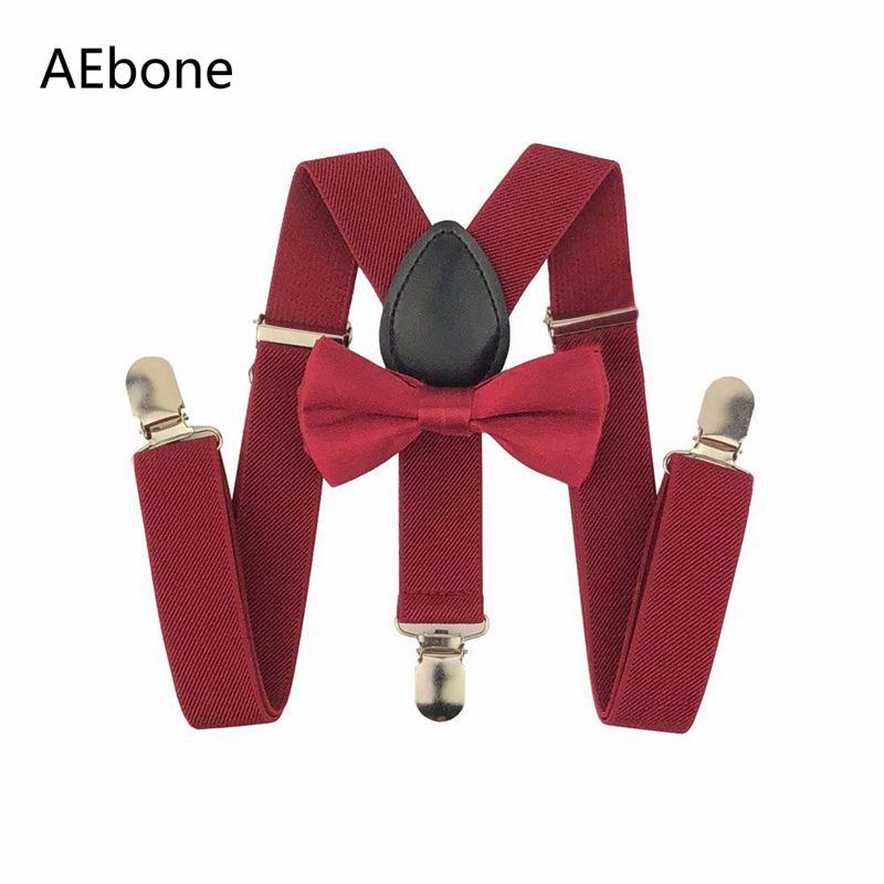 AEbone Baby Bow Ties And Suspenders For Pants Red Suspenders Boys Kids Tirantes Y Lazos Para Bebe Navy Burgundy Sus37