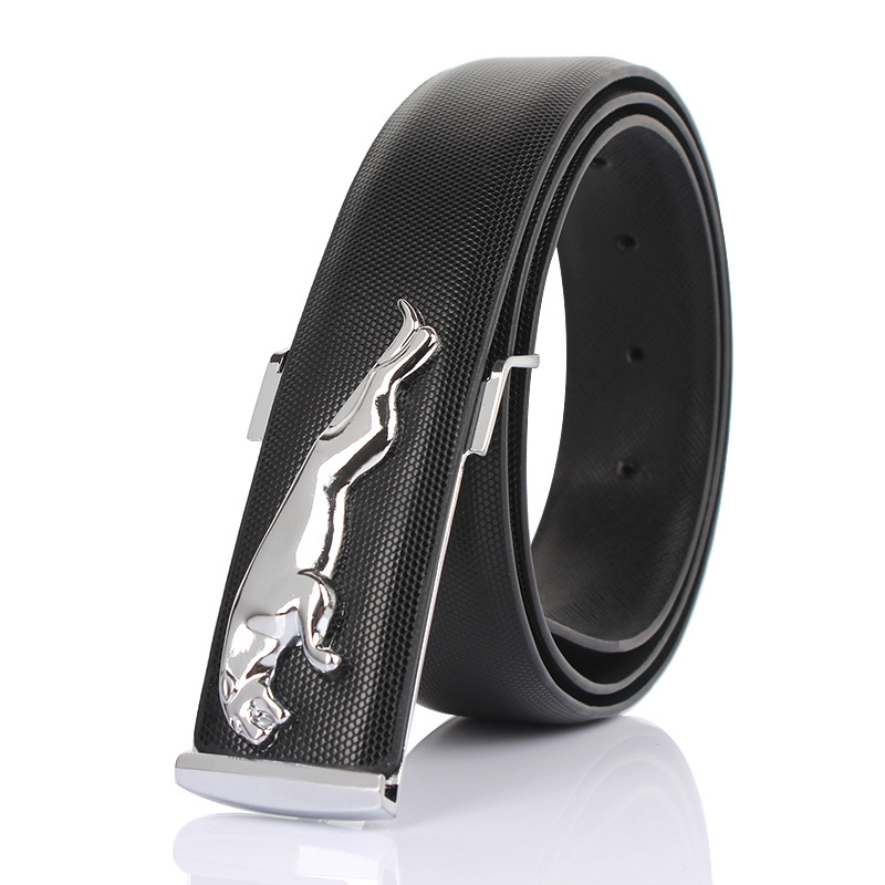 2019Luxury Brand Man Business Leather   Belt   Designer   Belts   Men High Quality Jaguar Buckle Male Strap Ceinture Homme Gifts For Men