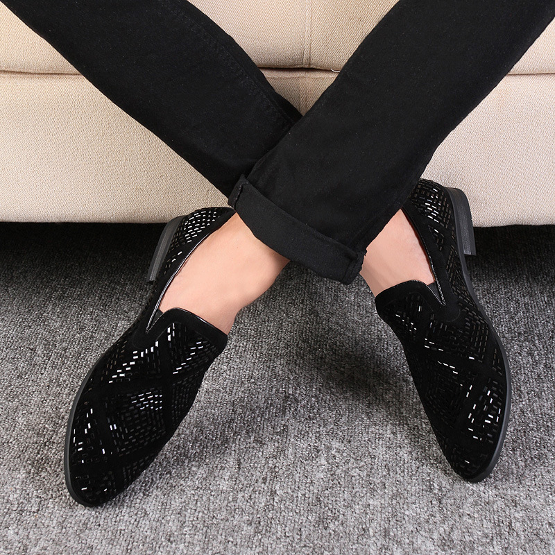 Dropshipping DHL freeshipping Loafer Shoes party Dress Casual Rhinestone Pointed Toe Flat Breathable party Dress Shoes music note party swing dress