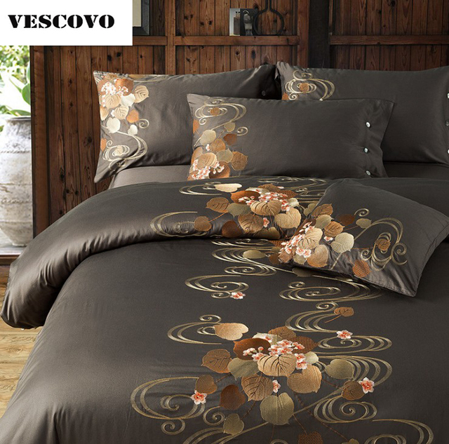 Vescove Luxury 100 Cotton Bedding Sets For Queen King Linen Bed Sheets Duvet Cover Set Alibaba Express