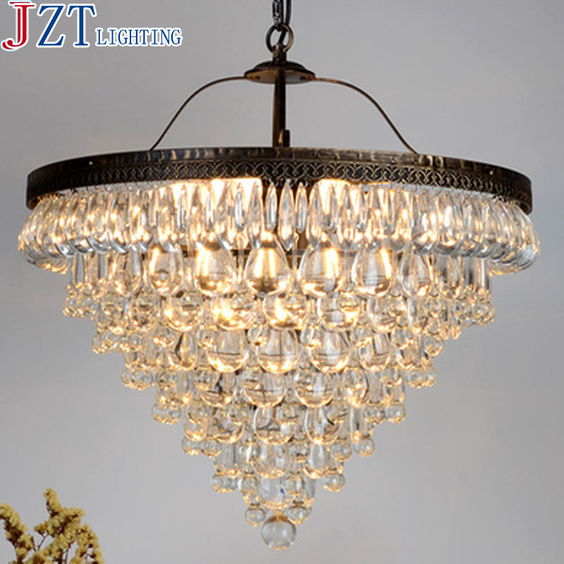 M Best Price 55cm Nordic Minimalist Crystal Lamp Drops E14 LED Lamp Lighting American Retro Aisle Dining Room Iron Chandelier nordic american country loft minimalist restaurant bar balcony aisle trumpet glass bell crystal chandelier lamp light lighting