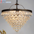M Best Price 55cm Nordic Minimalist Crystal Lamp Drops E14 LED Lamp Lighting American Retro Aisle Dining Room Iron Chandelier