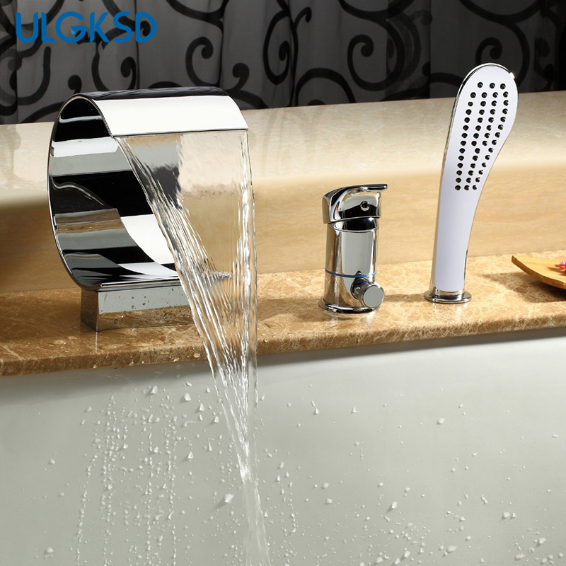 ULGKSD Chrome Brass Bathtub Faucet Single Handle Function Switch Hot and Cold Water Mixer Tap Deck Mount Para Bathroom Shower цена 2017