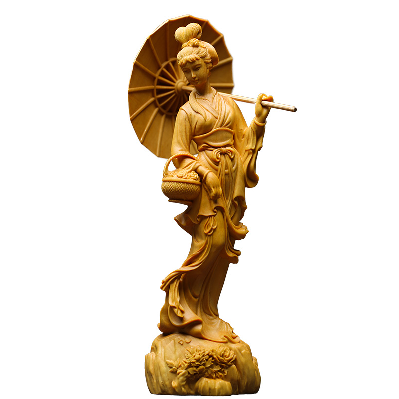 Chinese Classical cheongsam Beauty sculpture Folk hand carving statue wall home decor lucky  decoration accessories-in Figurines & Miniatures from Home & Garden    1