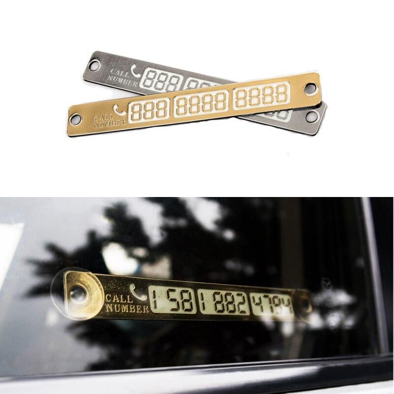 Carta di parcheggio per auto temporanea Scheda numero di telefono Notifica Luce notturna Piastra ventosa Car Styling Scheda numero telefono luminosa