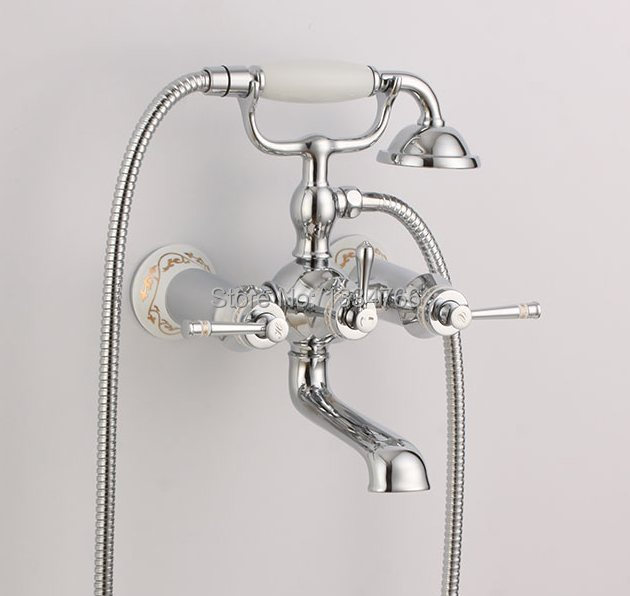 Slavina Wall Mounted Bathtub Faucets Hand Shower Exposed Tub Mixer Bath Faucet Baignoire Robinet Wannenbrausenmischer