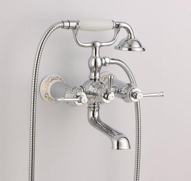 Slavina Wall Mounted Bathtub Faucets Hand Shower Exposed Tub Mixer