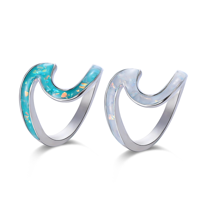 1pc Meetcute Exqusite Wave Beach Ocean Blue Fire Opal Ring Wedding Bands Jewelry Size Silver Filled Wave Rings For Woman Gifts