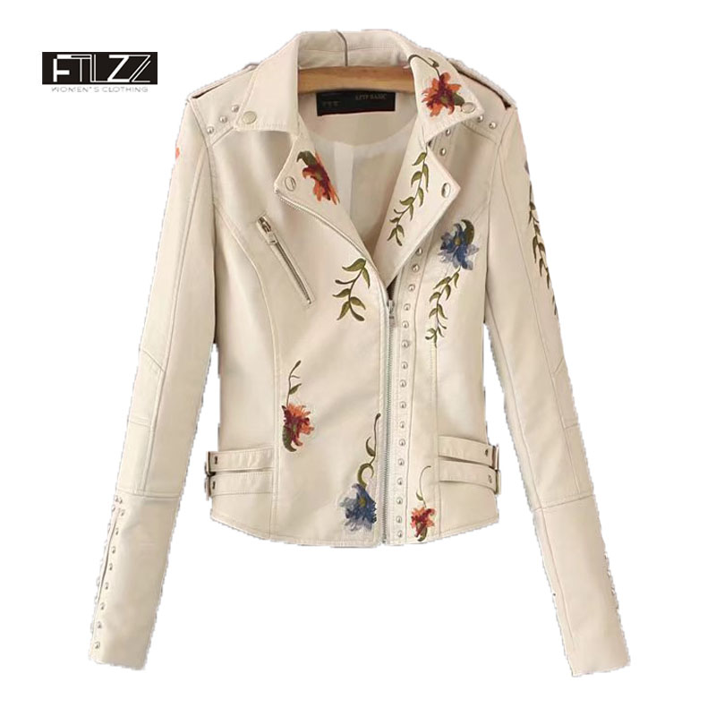 2018 New Women Rivets Faux   Leather   Jacket Spring Autumn Slim Floral Embroidery Biker Jacket Ladies Black Cheap Motorcycle Coats