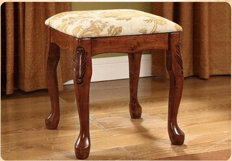 European Style Bedroom Dressing Stool Solid Woood Handmade Woman Furniture  Girl Dresser Stool Chair With Flower Bedroom Decor