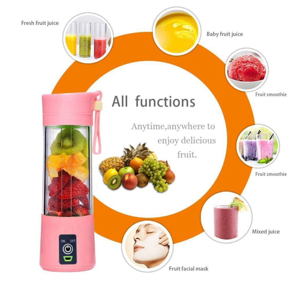 380ml Portable Juicer Electric USB Rechargeable Smoothie Blender Machine Mixer Mini Juice Smoothie Maker Blenders Household(China)