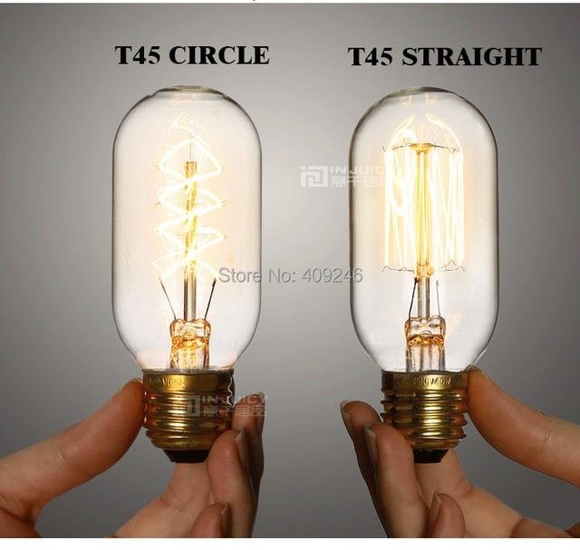 Ac220v 240v 10pcs T45 Circle Marconi Smoked Light Bulb Lamp Vintage Edison Reproduction 40 Watt
