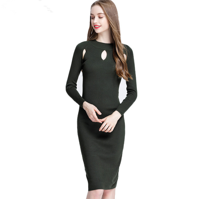 Women Autumn Winter Sweater Knitted Wool Dresses Slim Turtleneck Long Sleeve Sexy Hollow Out Lady Bodycon Robe Dresses Vestidos
