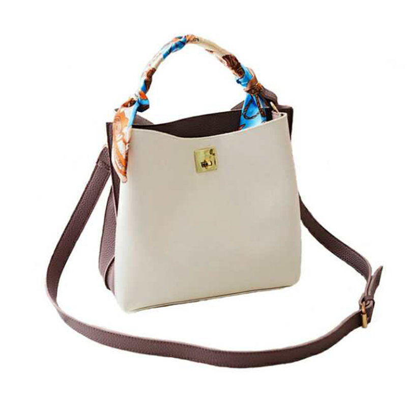 The European and American fas2017 bags of new tide hit color Bucket Bag Fashion Scarf Laptop Bag Shoulder Bag female temperament